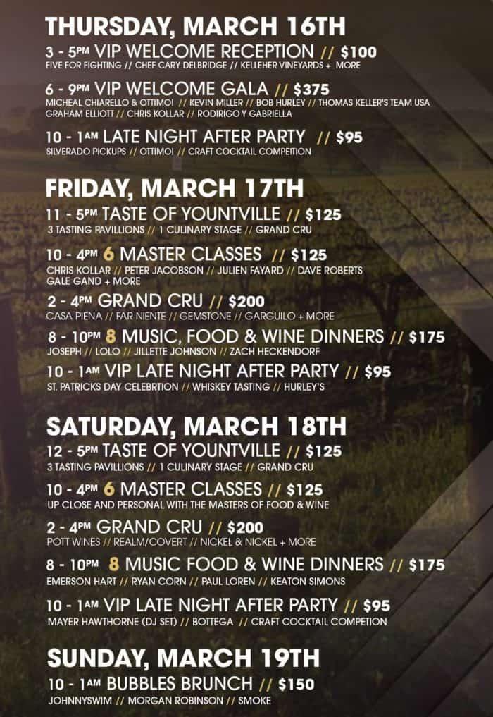 Yountville Live schedule