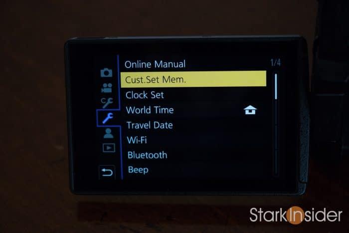 GH5 Cust Set Mem. to store personal settings profile