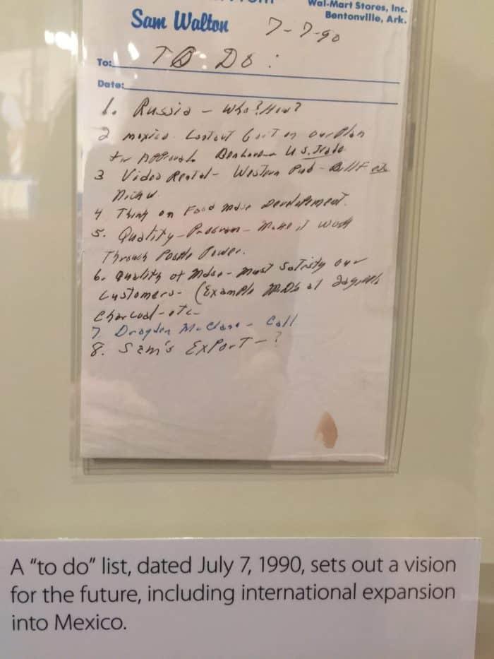 Walmart Museum: Sam's prophetic To-Do list