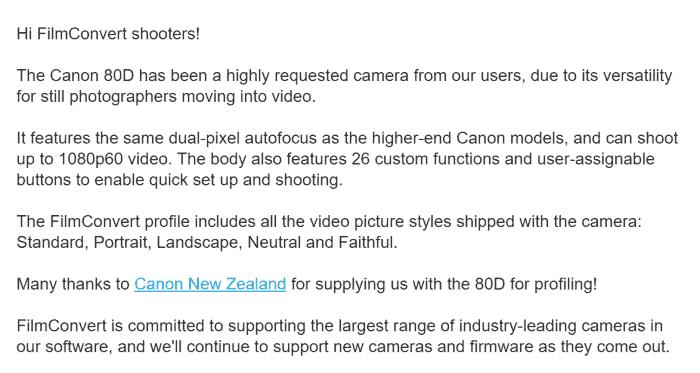 FilmConvert profile available for Canon EOS 80D DSLR camera