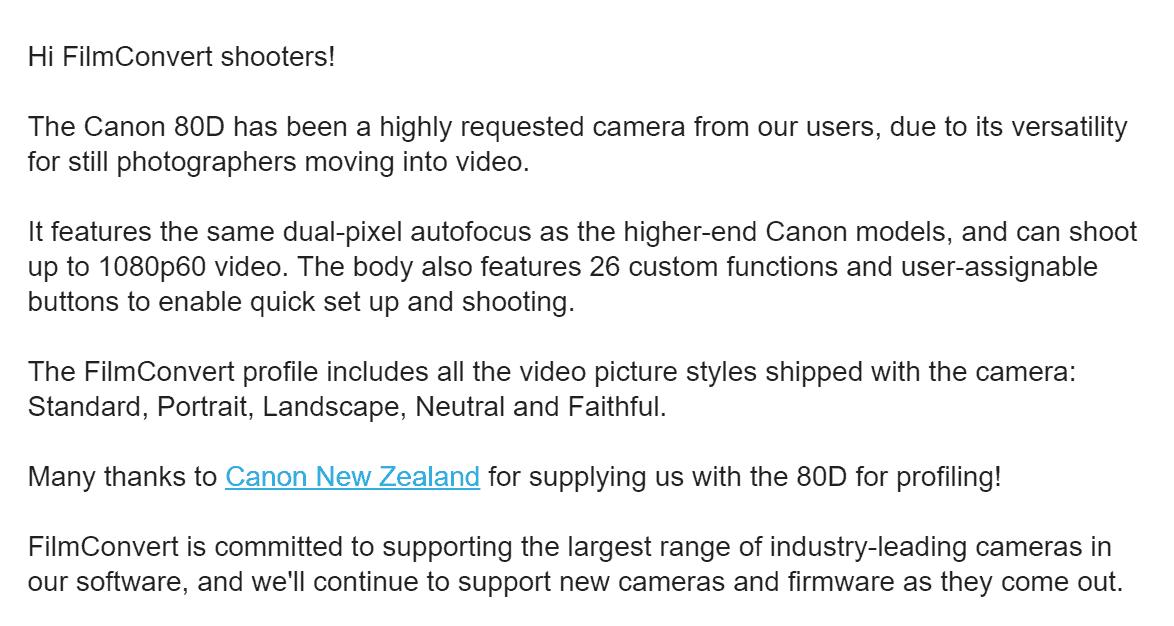 FilmConvert Now Available for Canon EOS 80D DSLR: Embrace the grain