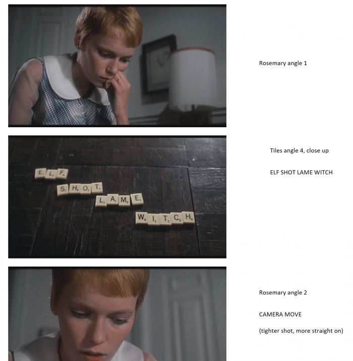 Rosemary's Storyboard Analysis for Scrabble Scene