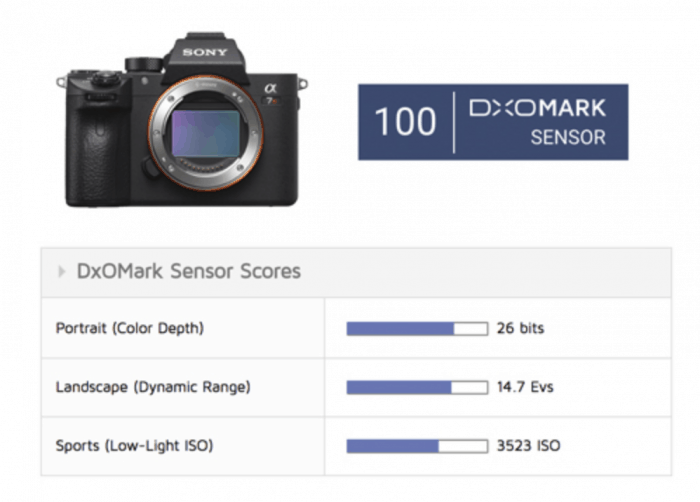 Sony A7R III achieves an overall DxOMark sensor score of 100 points