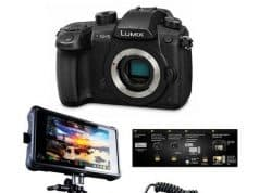 Panasonic Lumix DC-GH5 Mirrorless Camera Body, Black - Pro FilmMaker Kit - V-Log L Function Firmware Upgrade Kit, Atomos Ninja Inferno All-in-1 Monitor Recorder, HDMI to HDMI Cable, Atomos Power Kit