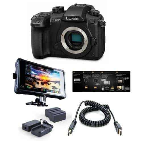 Panasonic Lumix DC-GH5 Mirrorless Camera Body, Black - Pro FilmMaker Kit - V-Log L Function Firmware Upgrade Kit, Atomos Ninja Inferno All-in-1 Monitor Recorder, HDMI to HDMI Cable, Atomos Power Kit
