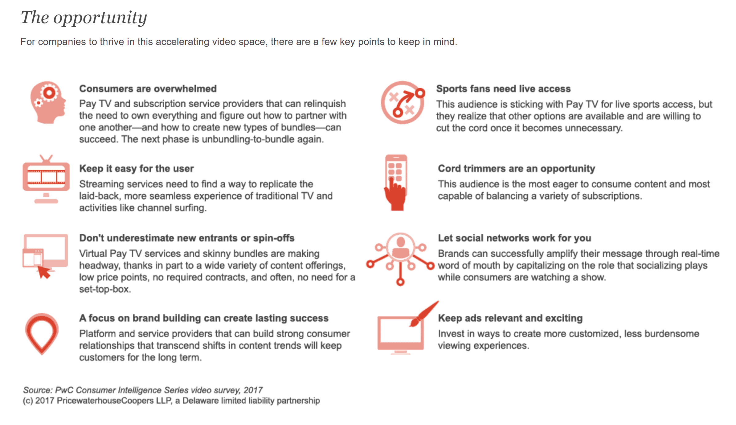 For companies to thrive in this accelerating video space, there are a few key points to keep in mind.
