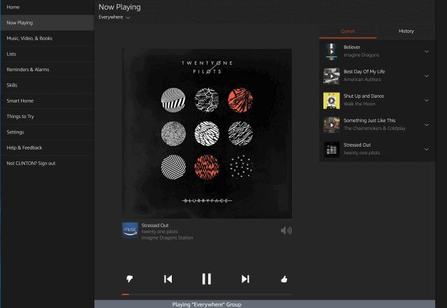 Amazon Alexa now playing music interface (Web)