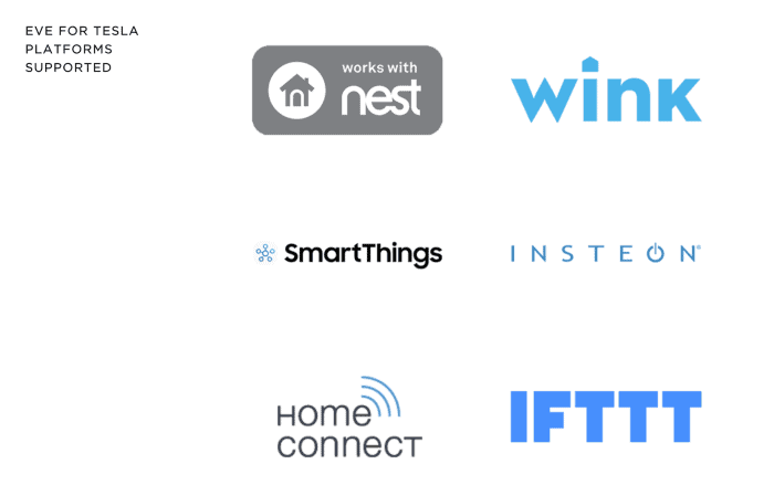 Eve for Tesla supported smart home platform and cloud services