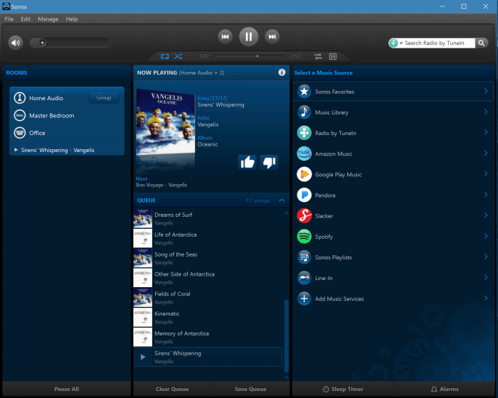 Sonos Desktop App for PC - now playing user interface