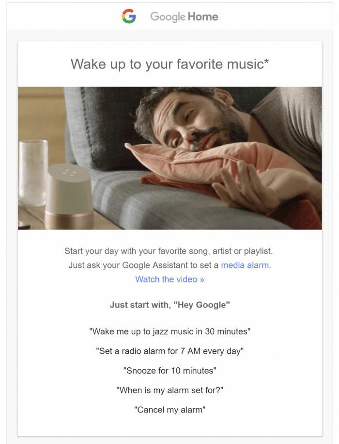 Google Home media alaram wake to music