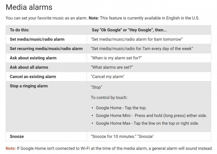 Google Home media alarm voice commands