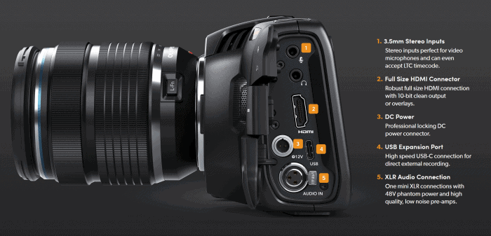 Blackmagic Pocket Cinema Camera 4K connection ports
