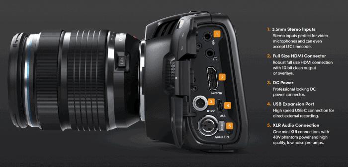 Blackmagic Pocket Cinema Camera 4K connection ports