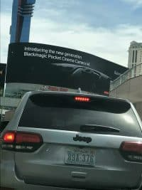 Blackmagic Pocket Cinema Camera 4K teaser poster spotted in Las Vegas in advance of the NAB trade show.