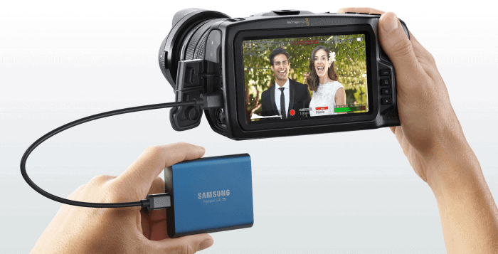 High speed USB-C connection for direct external recording