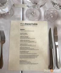 The Shared Table restaurant in Mendocino - Menu