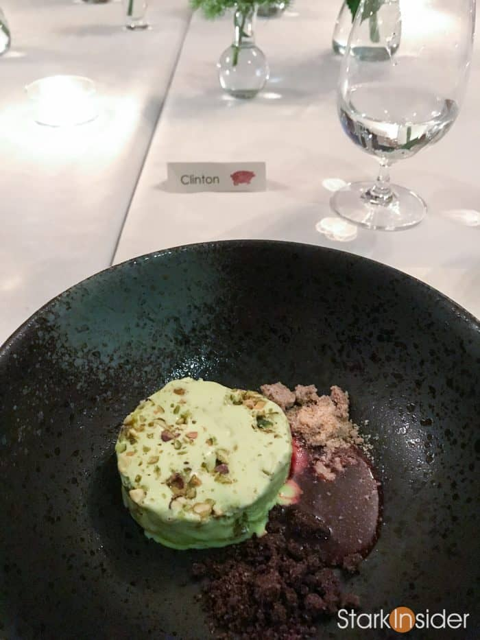 And dessert is served: Frozen pistachio cremeux with 2012 Husch Gewurztraminer, Anderson Valley.