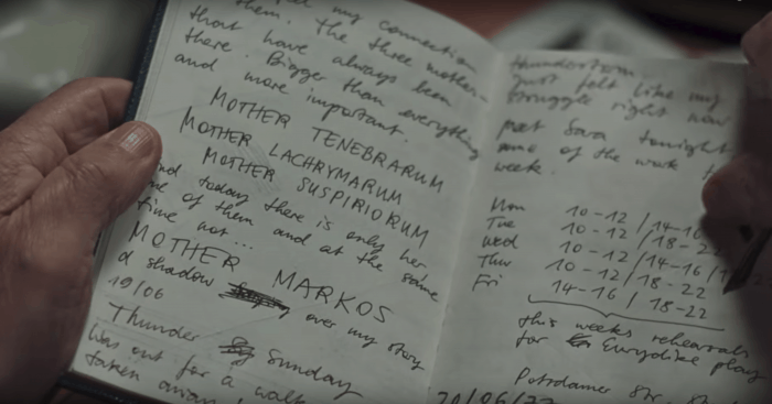 Suspiria (2018) Three Mothers diary clues