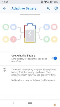 Google Android 9 Pie - Battery optimization using Deepmind AI