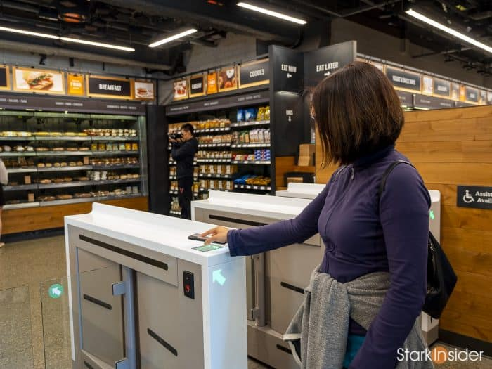 Cashier-less Amazon Go store - self-serve with mobile app