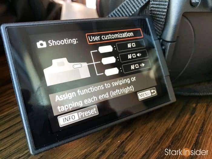 Canon EOS R: M-Fn touch bar customization