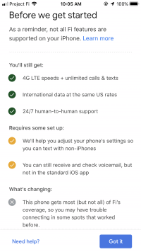 Google Fi on iPhone