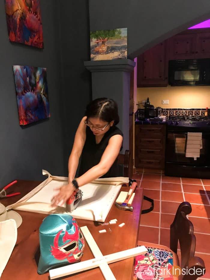 Making a canvas in Loreto Bay casa