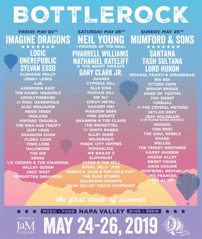 BottleRock Napa Valley - Concert schedule and artist lineup