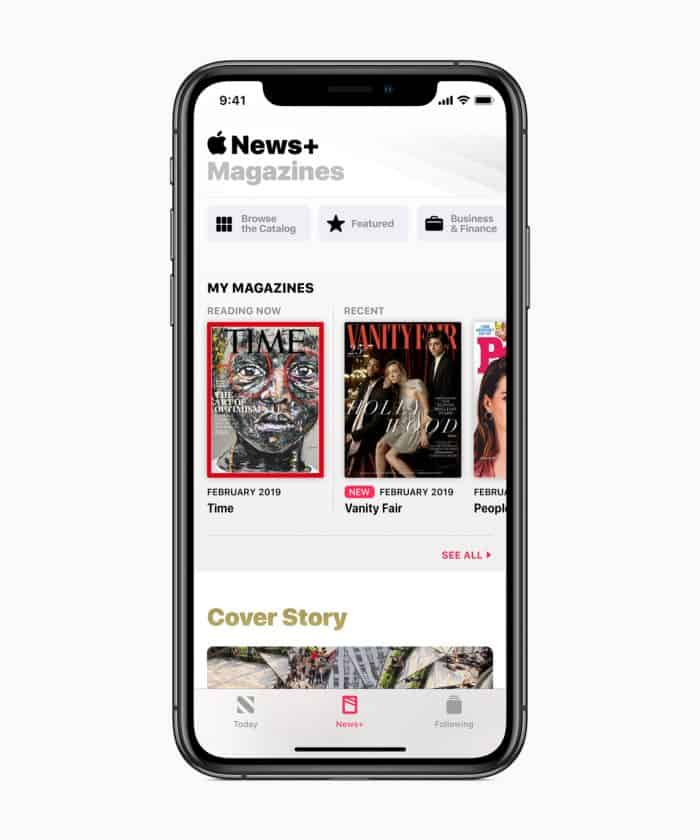 Apple News+ 300 magazines CEO Tim Cook launch
