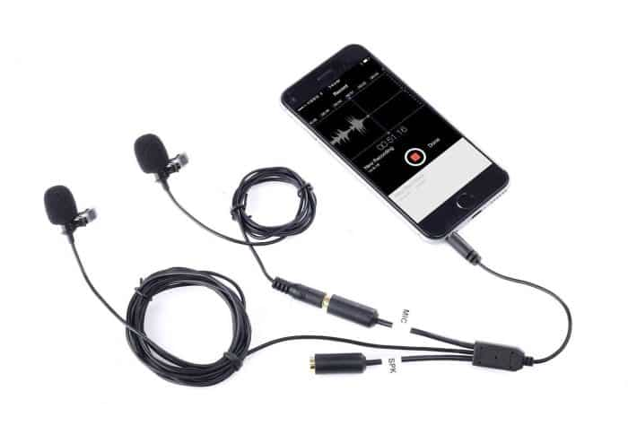 Movo Professional Lavalier Lapel Clip-on Interview Microphone with Secondary Mic & Headphone Monitoring Input