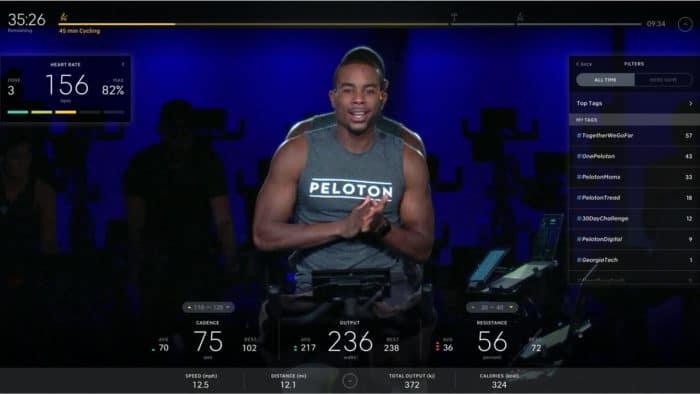 Peloton - Alex Toussaint bike class tag leaderboard