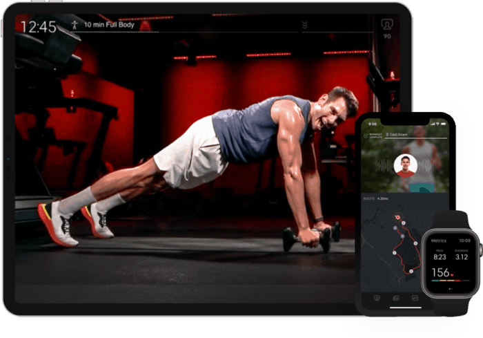 Peloton app on iPad, iPhone and Apple Watch