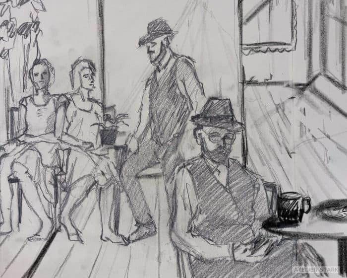 Duo Encounters Sketch - Copyright Loni Stark