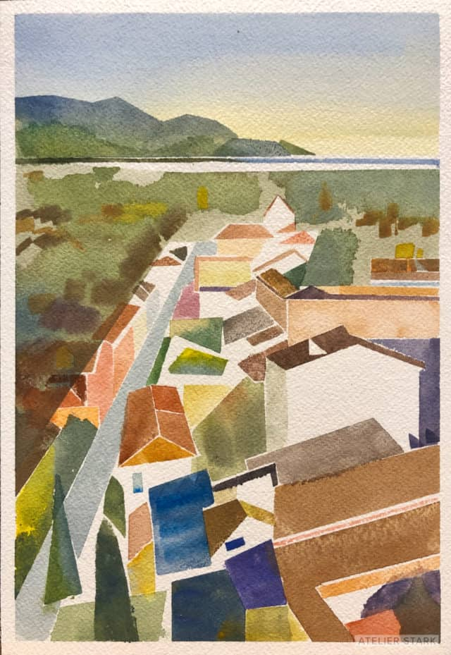 View of Pisa from a Leaning Tower, watercolor on Arches paper, 8x10 inches ©️Stark 2020