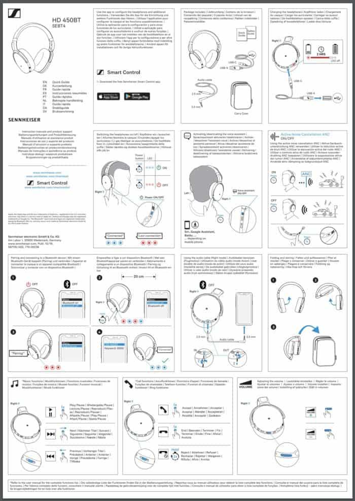 Sennheiser HD 450BT headphones - Quick Guide