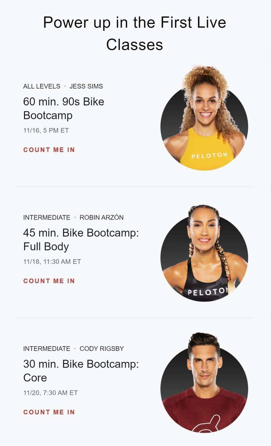 First Bike Bootcamp live classes by Peloton