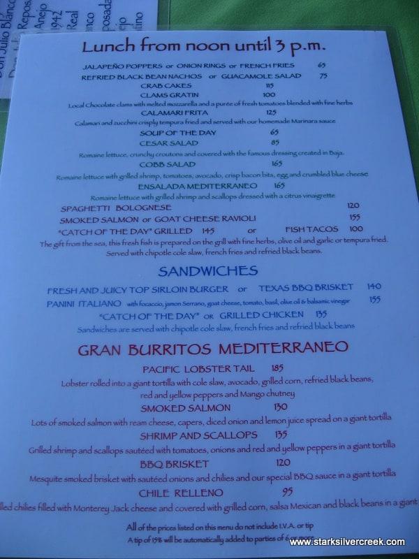 Mediterraneo Lunch Menu