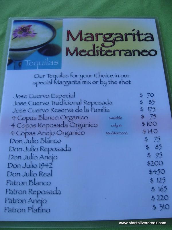 Margarita menu at Mediterraneo