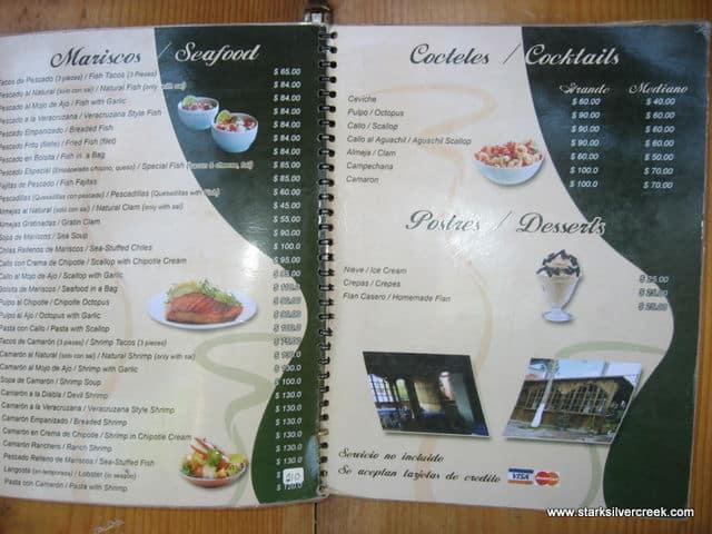 La Cascada Restaurant Menu