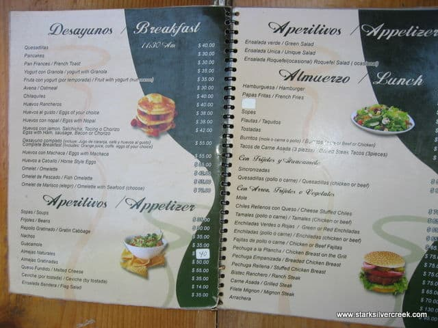Menu for La Cascada