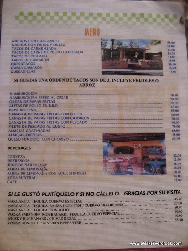Menu in Spanish Restaurant Spanish Version of Menu